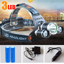 6000Lm CREE XML T6+2R5 LED Headlight Headlamp Head Lamp Light 4-mode torch +2x18650 battery+EU/US Car charger for fishing Lights(China (Mainland))
