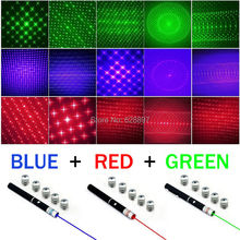 2015 Wholesale Puntero Laser New 5in1 Caneta Laser 5mw 650nm Red Green Blue Laser Pointer Pen+ 5 Star Caps Color Change 3pcs/lot(China (Mainland))