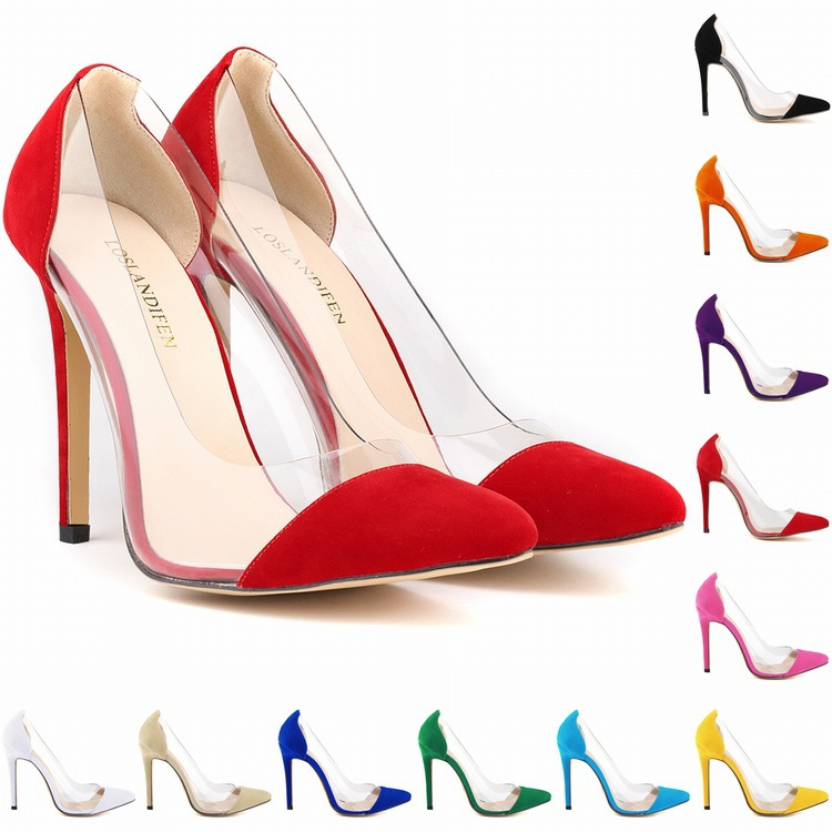 20 colors SIZE 34-42 spring summer autumn flock women pumps high heels women shoes 2015 wedding shoes sapatos feminino(China (Mainland))