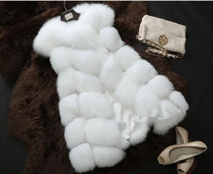 High quality 14 artificial fur coat fox fur PU medium-long patchwork wool vest(China (Mainland))