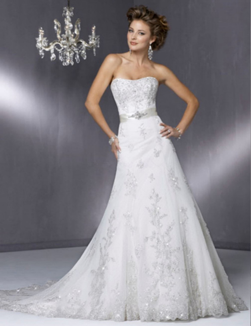 Reasonable Price High Quality Strapless Embroidery Lace Sheath Wedding Dress Bridal Gown(China (Mainland))