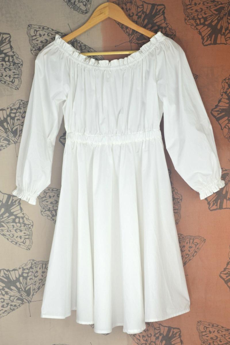 Summer Classic Women Sexy strapless cotton tunic dress Fold wide swing lantern sleeve white casual dress(China (Mainland))