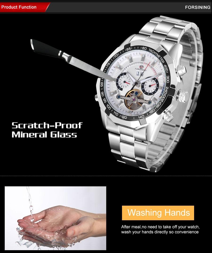 Forsining Люксовый Бренд моды для мужчин механическая турбийон часы нержавеющая сталь ремешок повседневная мужская скелет серебряные наручные часы