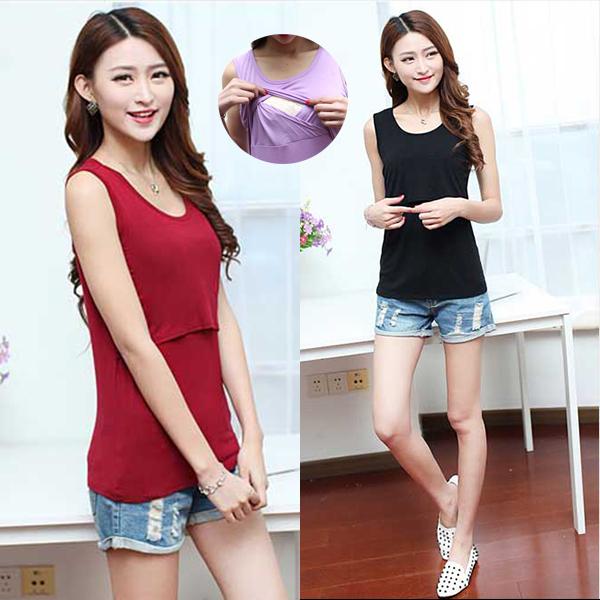 5 Colors 100% Cotton Sleeveless Nursing Top T-shirts Plus Size Maternity Clothing for Feeding Nursing Clothes Maternity T shirts(China (Mainland))