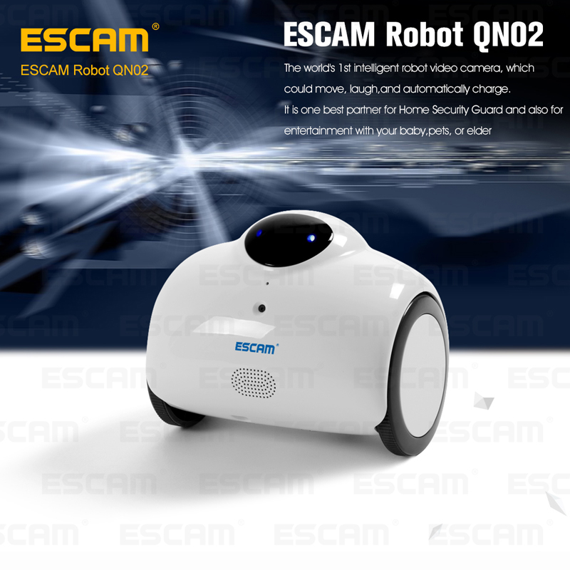 ESCAM Robot QN02 720P wireless ip camera support two way talk/Touch interaction built in Mic/speaker can move,laugh,auto charge(China (Mainland))