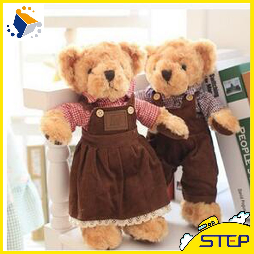 2016 Free Shipping 2pcs/lot Super Cute Romantic Couple Teddy Bear Plush Toy Soft Bear Doll Wedding Gifts for Children ST450(China (Mainland))