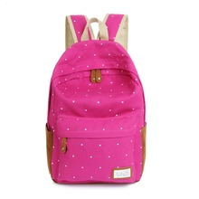 2016 Trendy casual canvas backpack women fashion school bags for girls dot printing backpack shoulder bags mochila(China (Mainland))