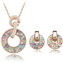gold jewelry sets svarovski crystal jewelry for women gold necklace and earrings bangel luxury jewelry for lady(China (Mainland))