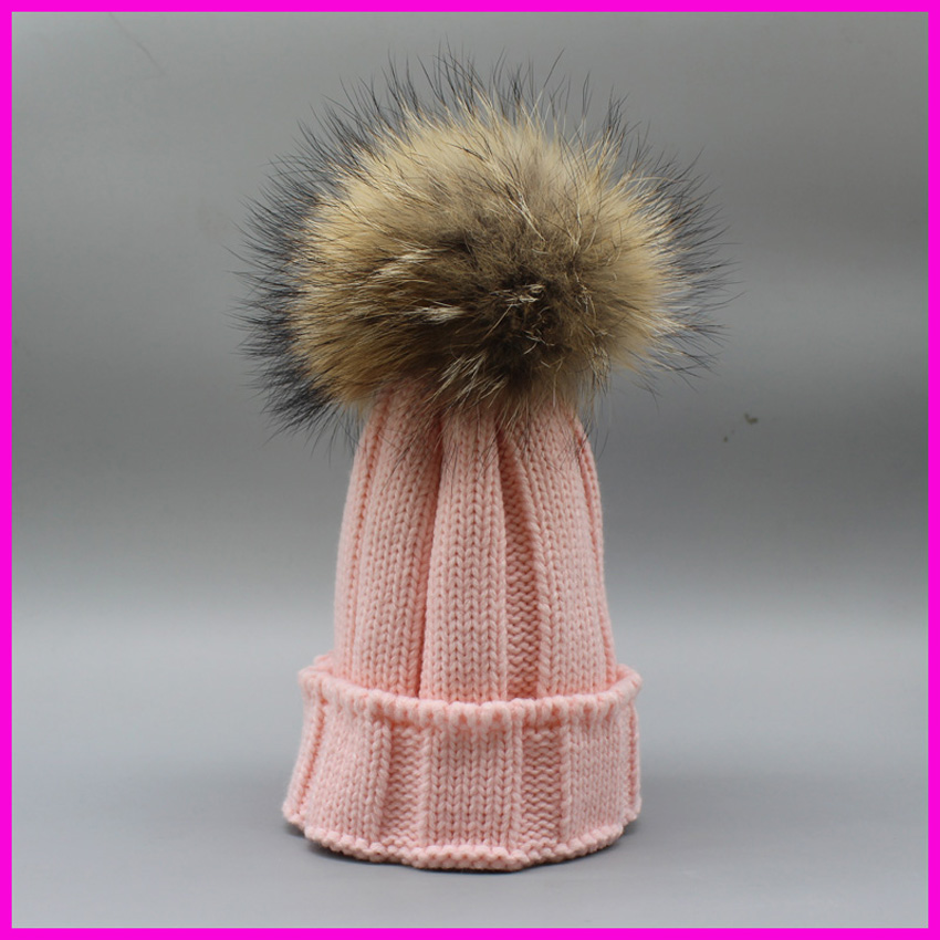 Winter Kids Fur Pom pom Hats Baby Knitted Beanie 100% Real Raccoon Fur Cap For Boy Girl(China (Mainland))