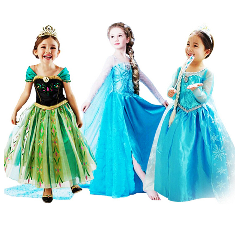 Promotion 2015 kids clothes summer style Elsa ana Princess queen of snow Dress girl baby Cartoon Costume Fancy Dress for wedding(China (Mainland))