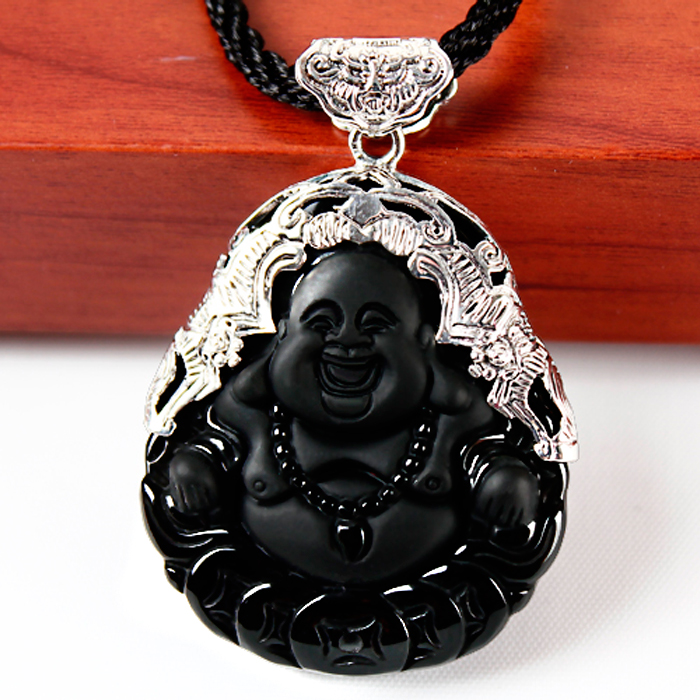 Thai silver, 925 silver inlaid natural obsidian Shi Yu pulp laughing Buddha pendant Pot-bellied fo Maitreya hanged