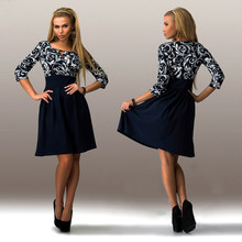2016 Spring Summer Women Dress vintage Blue Print Dresses sexy 3/4 Sleeve Square Collar Casual Womens Clothing Plus Size Fashion(China (Mainland))