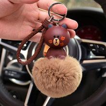 Despicable Me Olá Kitty Urso Pom Pom Pele pompom Mulheres Chaveiro Bugiganga de Metal Chaveiro Carro Saco Pendente Charme D47(China)