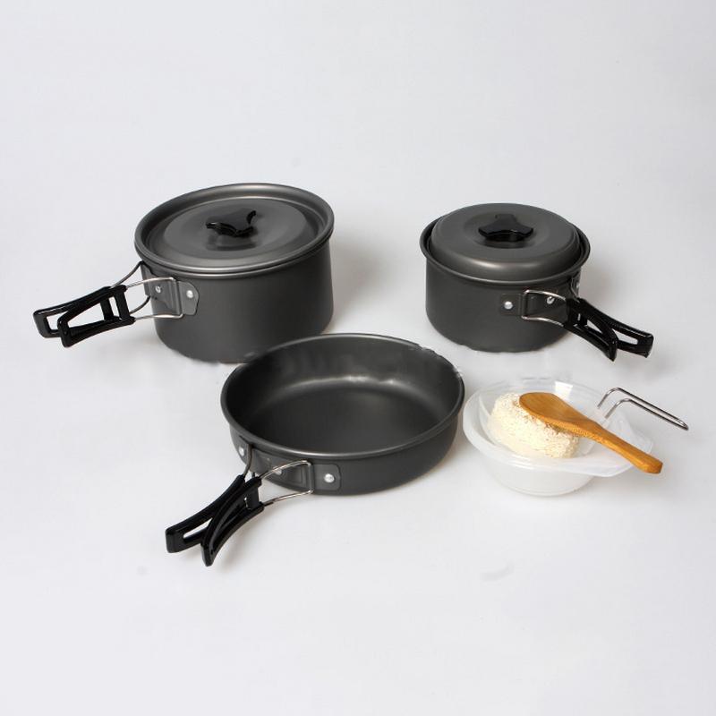 8pcs/set Portable Outdoor Camping Hiking Cookware Backpacking Picnic Pot Frying Pan and Bowls Spoons Set Travel Tableware Kit(China (Mainland))