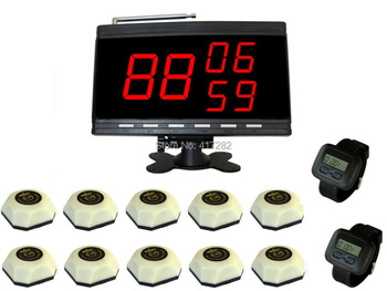 Kitchen paging waiter system.wireless service calling.10 bells and 2 watch receivers, 1 Display.
