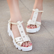 Free shipping women sandals thick with non-slip bottom lace hollow fashion T- toed sandals XFE-0020
