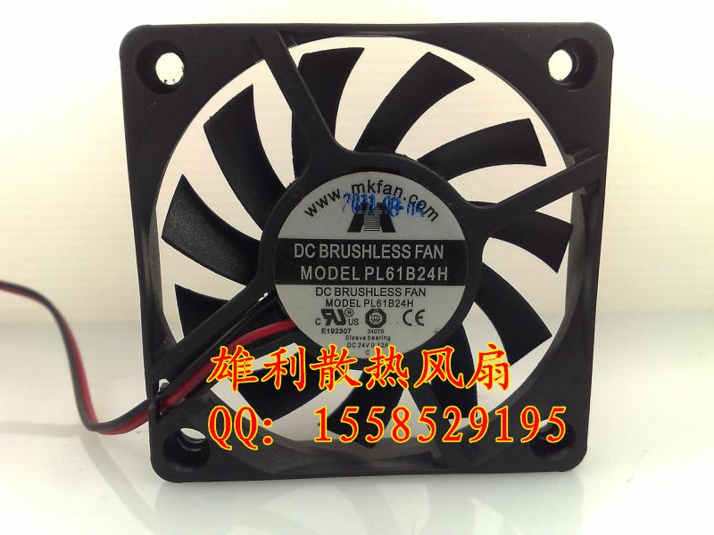MKFAN PL61B24H 24V 0.12A 6CM 6010 2 wire dual ball bearing fan 60 * 60 * 10MM(China (Mainland))