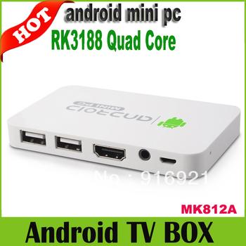2013 newest RK3188 Quad Core TV Box Android Mini PC 1GB DDR3  8GB Dongle Bluetooth HDMI WiFi  MK812A Free Shipping