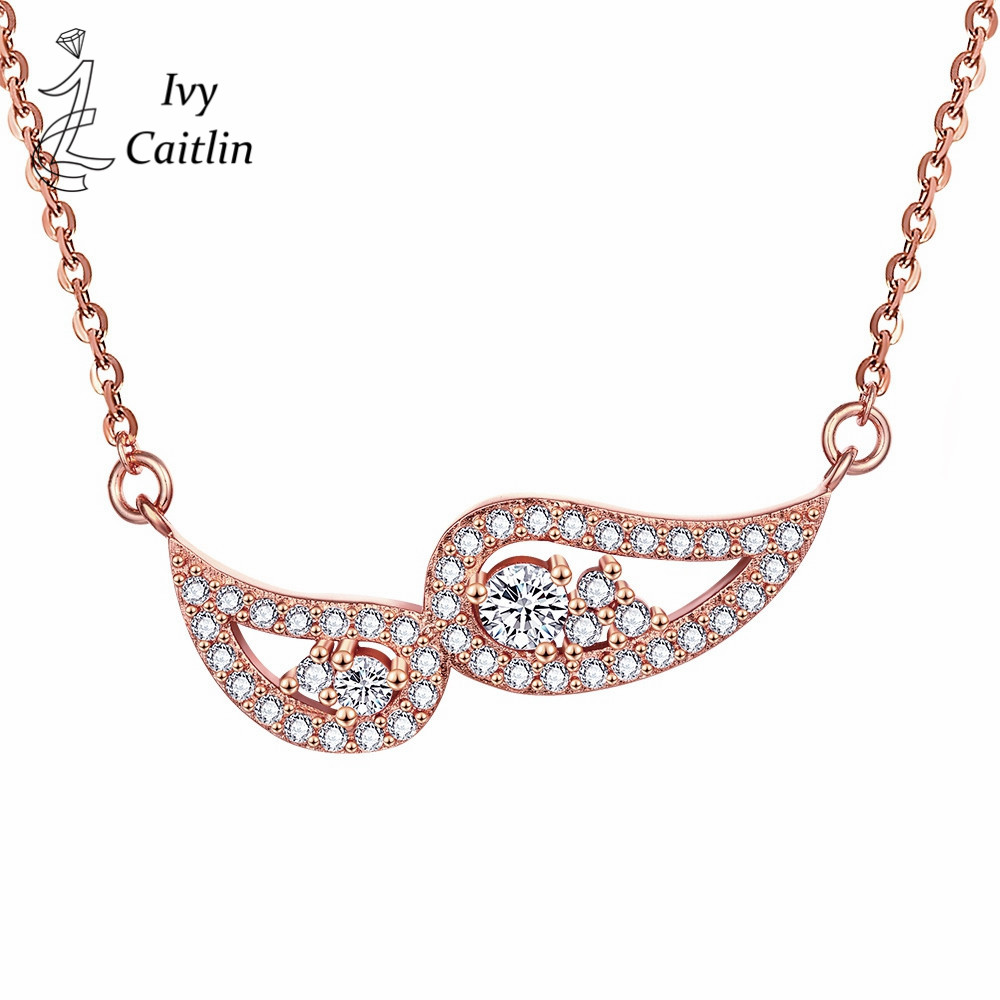 Ivy Caitlin N071-B Classic Water drop Rose Gold plated Link chain Necklace with Zircon & High Quality Nickle Free Jewelry(China (Mainland))