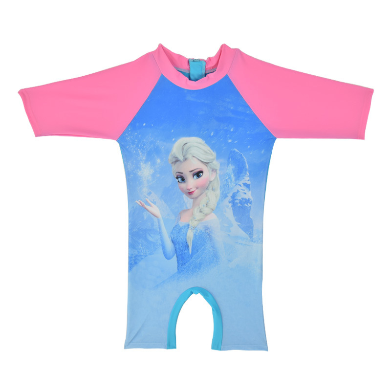 Princess Girls Rash Guard Cartoon Elsa&Anna Swimwear One Piece Kids Beachwear Suit Children Bathing Suit China Cheap Price CL035
