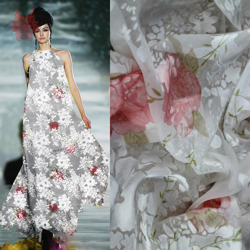 Designer Elegant White Poly/silk Burnout Fabric,pink