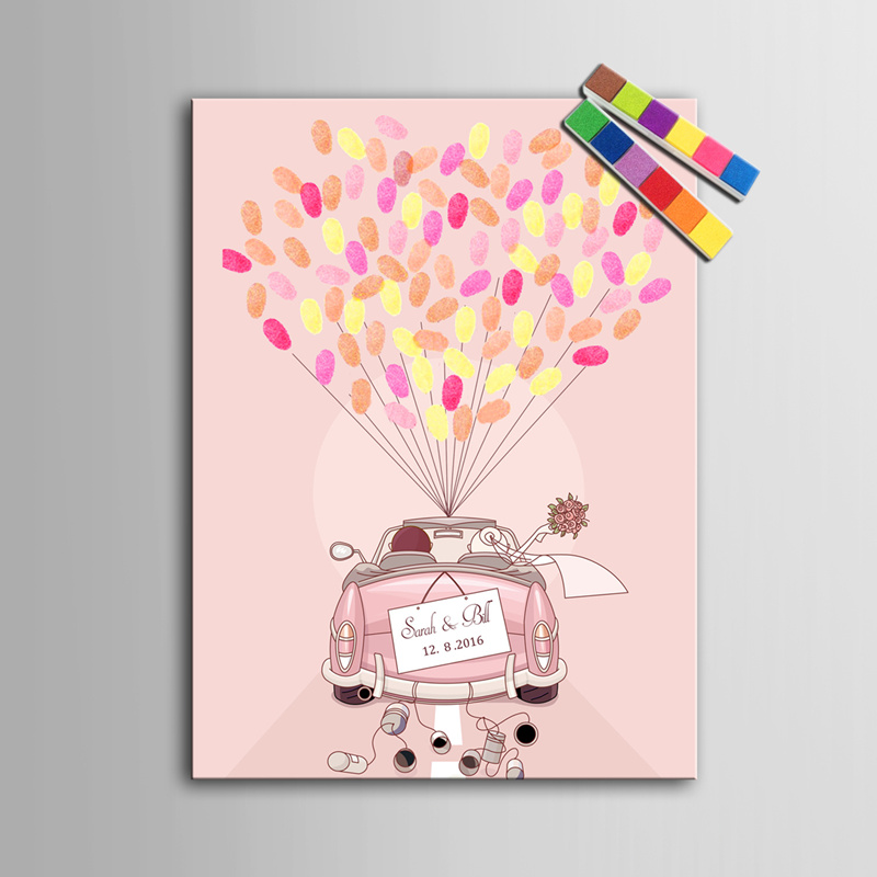 Personalized Fingerprint Tree Canvas Wedding Guest Book Wedding Decor Decorations Mariage Decoration Event Party Supplies Boda(China (Mainland))