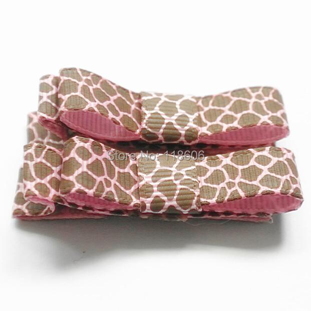 200pcs/lot Giraffe Tuxedo Bows Animal Print Giraffe Clips Pink and Brown Free Shipping(China (Mainland))