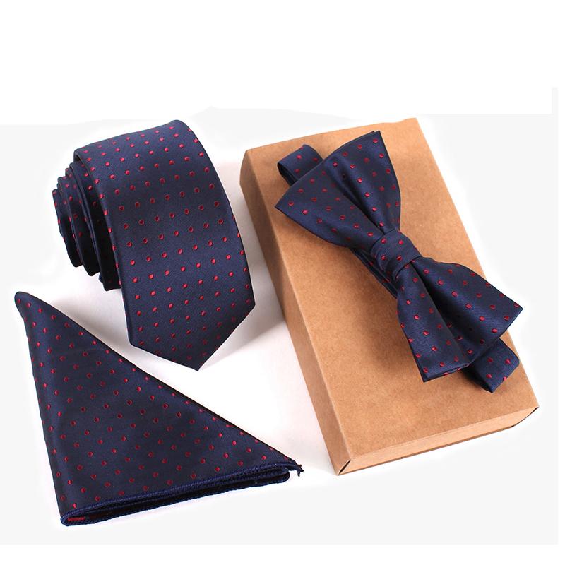 2016 Business Mens Suit Dot Necktie & Pocket Square Towel & Bow Tie Set Wedding Handkerchief Skinny Tie gravata Papillon Corbata(China (Mainland))