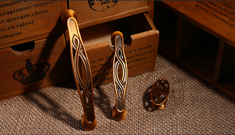 2016 New Antique Chinese Furniture Zinc Alloy Hardware Drawer Handle Copper Pull 10PCS