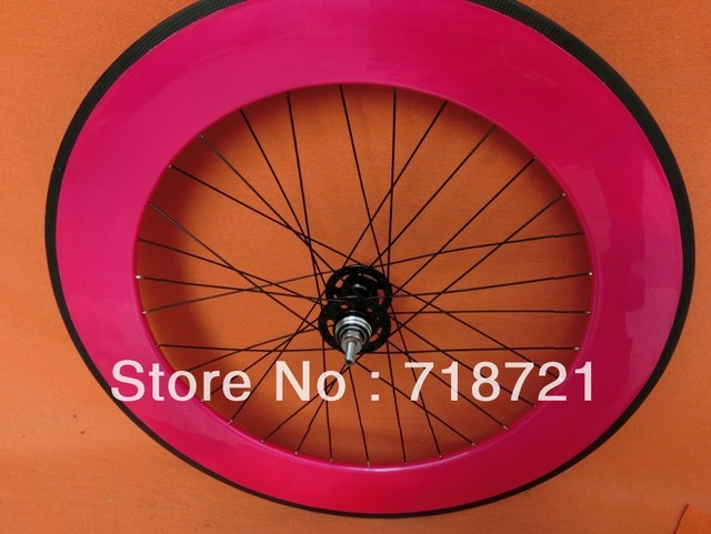 wholesale-88mm carbon cycling fixed gear wheelset&pink wheelset 3k glossy/matte finishing no logo