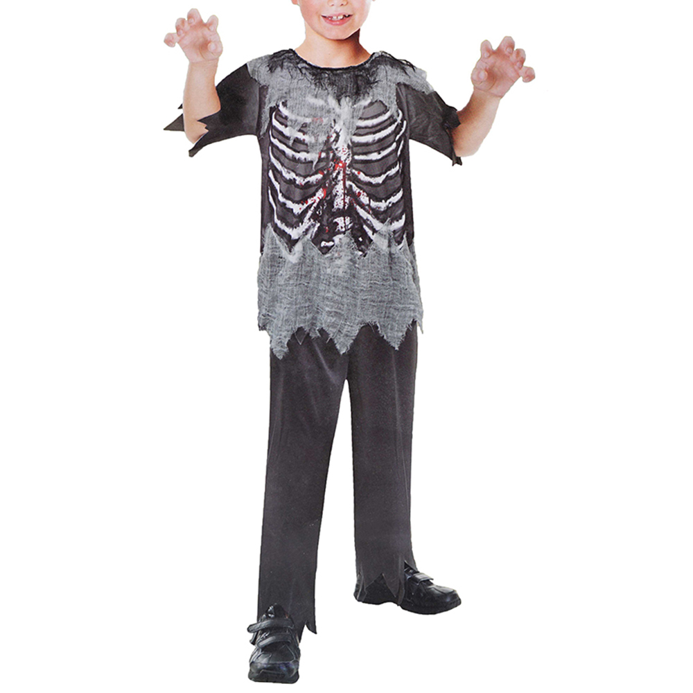 Boys Skeleton Zombie Costume Halloween Costume Kit Carnival Holidays Scary Bloody Horror Cosplay Fancy Dress for Children Kids(China (Mainland))