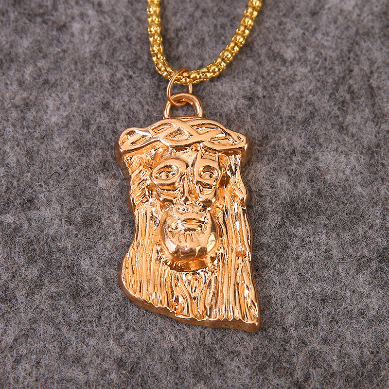 Hot Selling God Bless jesus pendant necklace men women hip hop good luck jewelry vintage gold color chunky chain necklace<br><br>Aliexpress