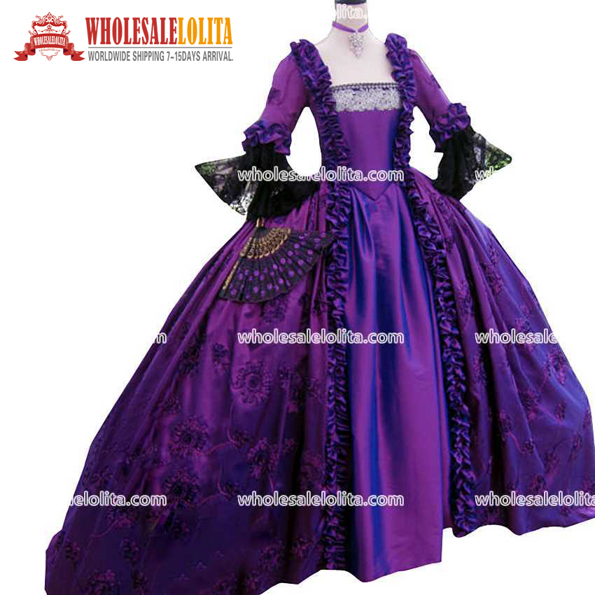 Top Sale 17 Century Purple Marie Antoinette Floor-lenght Party Wear Ball Gown Gorgeous Colonial 18th Century Taped Evening Gown(China (Mainland))