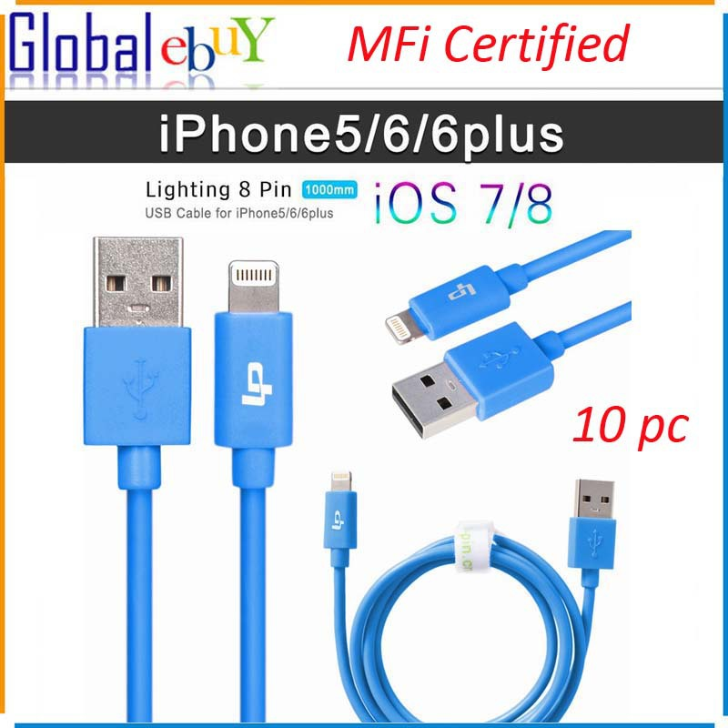 MFI Certificated 100% Genuine 8 Pin USB Data Sync Charger Cable Lead For Apple iPhone 6 plus 5 5C 5S iPad in Blue for 10pcs(China (Mainland))