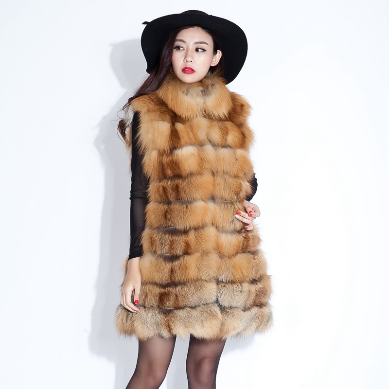 2015 Luxury Real Rex Fox Fur Vest Waistcoat Autumn Winter Genuine Women Fur Gilet Outerwear Coats Lady Overcoat 3XL VK3001Одежда и ак�е��уары<br><br><br>Aliexpress