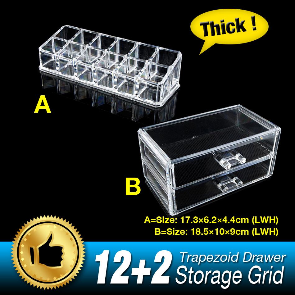 Free Shipping 14 Grids 3 Layer Drawers Lipstick Case jewelry Box Skin Care Organizer Storage Holder Clear Acrylic Display Stand(China (Mainland))