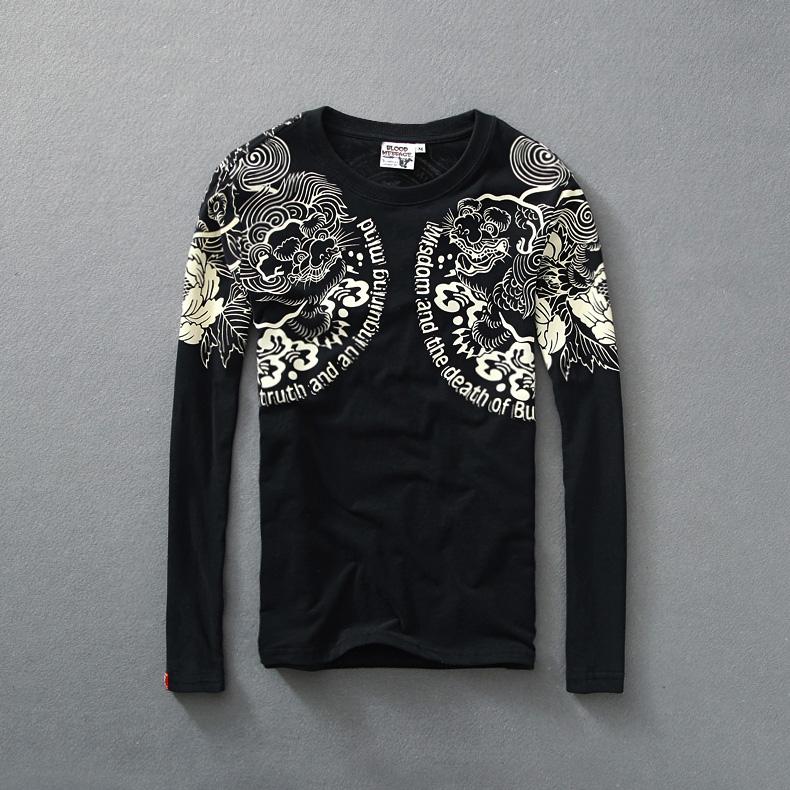 Mens t shirts long sleeve fashion 2014 true religious men for Mens dress shirts black friday