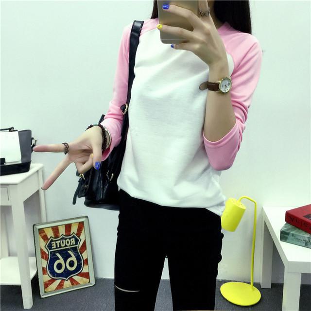 2015 осень женщины толстовка тонкий рукав реглан спорт свободного покроя пуловер о-образным вырезом контрастного цвета дна бесплатная доставка