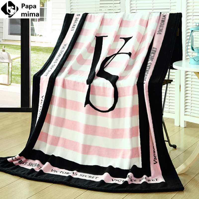 Fashion 130*150cm or 150*200cmSpring/Autumn Chic Brand VS Pink Coral Fleece Fabric Blankets Flannel Bedding Article Victoria(China (Mainland))
