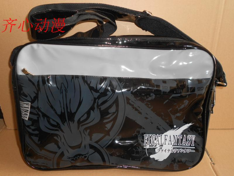 2012 Cool Final Fantasy Black Leather-like Logo Shoulder Messenger Bag School bags Perfect Halloween Gift(China (Mainland))