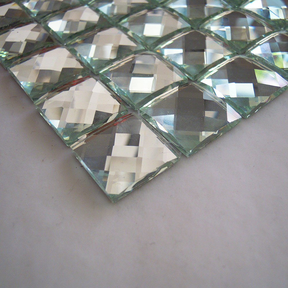 glossy silver color 13 faced diamond mirror glass mosaic