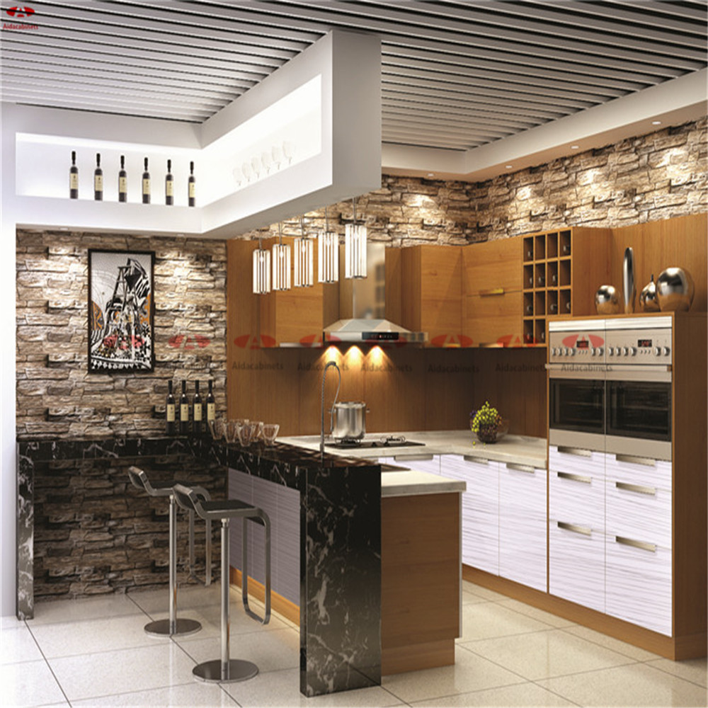 Modular customized wooden grain stainless steel hanging kitchen cabinet design(China (Mainland))