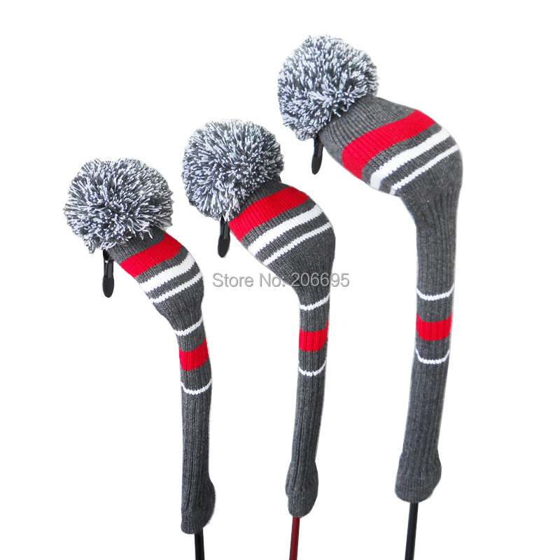 Grey Red Stripes Warning Color Style Knit Golf Club Head Cover, Set of 3 for 3 for Driver Wood(460cc), Fairway , Hybrid/UT(China (Mainland))