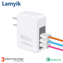 Buy USB Charger Qualcomm Quick Charge 3.0 Samsung Sony LG HTC 3 Ports Fast USB Wall Charger Universal Travel Charger EU US Plug for $10.25 in AliExpress store