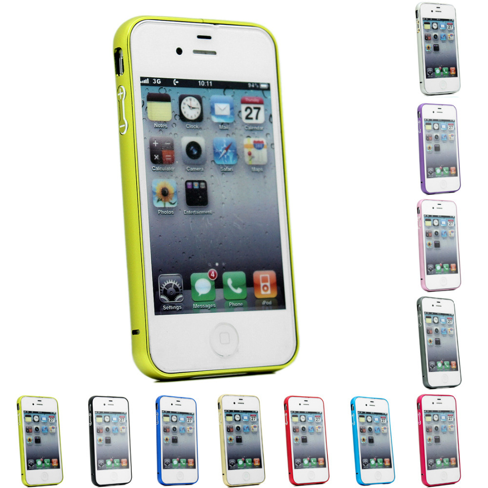 Free shipping Case Cover Luxury Brand Pure Hard Metal Frame Bumper For iPhone 4 4s(China (Mainland))