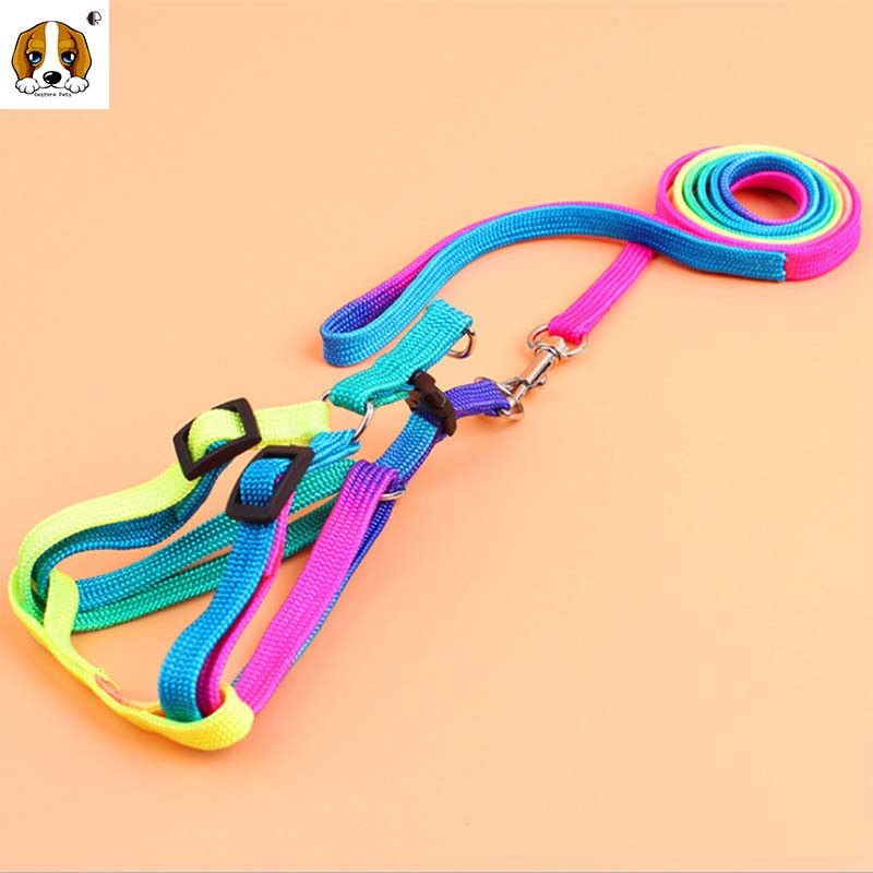 (1 harness +1 leashes )High Quality Pet RainBow Dog Collar accessories Strong Nylon dogs harness 2 size HP435(China (Mainland))