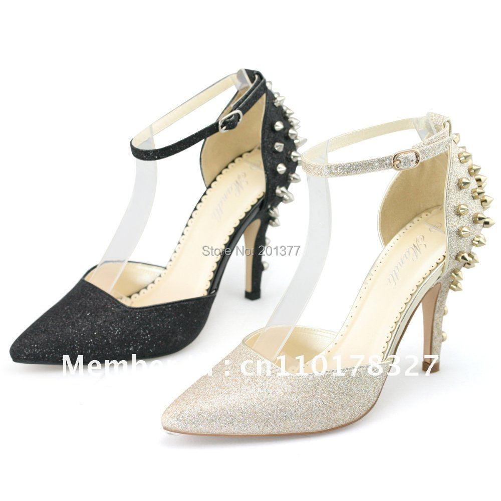 shoezy 100 made womens gold and black glitter pumps
