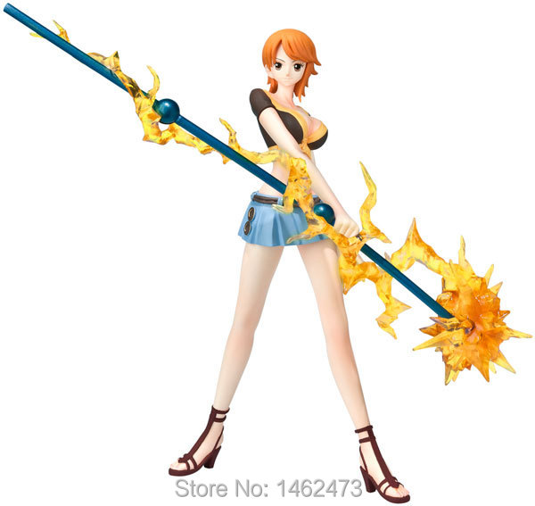 One Piece Nami Battle weather stick Japanese Cartoon Anime Action Figures PVC Doll Model Collection Free Shipping(China (Mainland))
