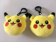 Factory Price 20pcs/lot 6cm Pikachu poke go mon Plush Toy Keychain Backpack Doll Pendant For Children Gift Chirstmas(China (Mainland))
