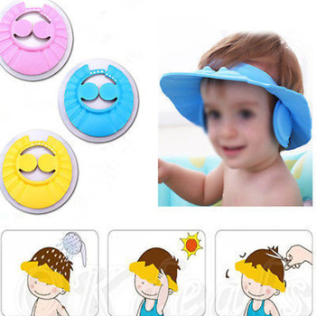 New Adjustable Baby Kids Shampoo Bath Bathing Shower Cap Hat Wash Hair Shield With Ear Wholesale 2PCS/Lot